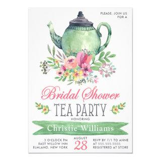 Elegant Bridal Shower Tea Party Floral Watercolor Invitation