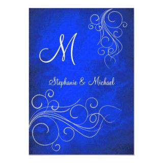 Elegant Bright Blue Silver Monogram Wedding Invitation