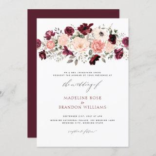 Elegant Burgundy Blush Floral Wedding Invitations