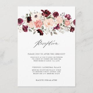 Elegant Burgundy Blush Floral Wedding Reception Enclosure Card