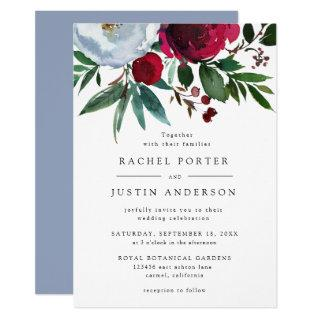 Elegant Burgundy Dusty Blue Floral Rustic Wedding Invitations
