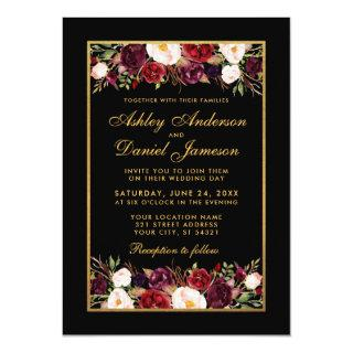 Elegant Burgundy Floral Black Gold Frame Wedding Invitation