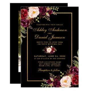 Elegant Burgundy Floral Black Gold Photo Wedding Invitations