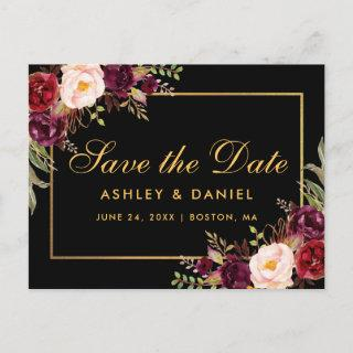 Elegant Burgundy Floral Black Gold Save The Date Announcement Postcard