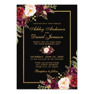 Elegant Burgundy Floral Black Gold Wedding Invitations