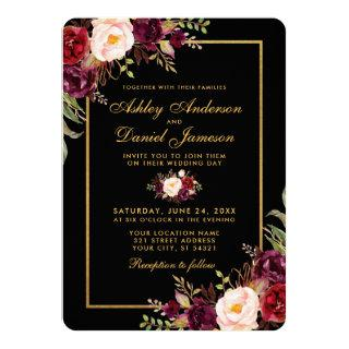 Elegant Burgundy Floral Black Gold Wedding R Invitations