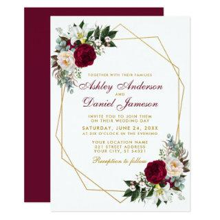 Elegant Burgundy Floral Greenery Gold Wedding Invitation