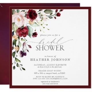 Elegant Burgundy Floral Watercolor Bridal Shower Invitation