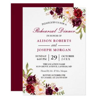 Elegant Burgundy Floral Wedding Rehearsal Dinner Invitations