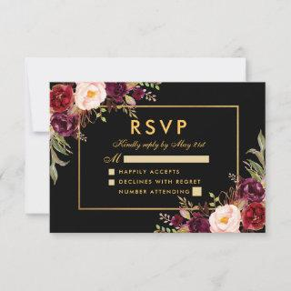 Elegant Burgundy Floral Wedding RSVP Black Gold