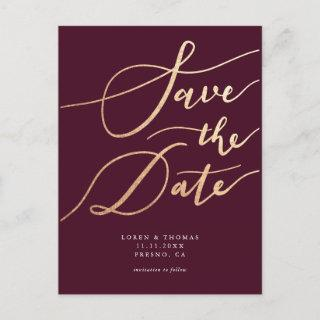 Elegant Burgundy Gold Script Wedding Save the Date Announcement Postcard