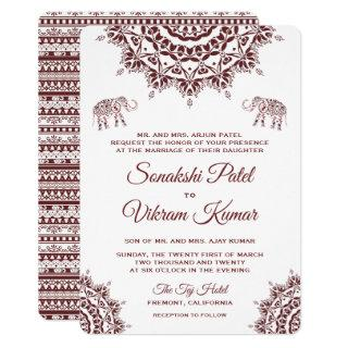 Elegant Burgundy Henna Indian Wedding Invitation