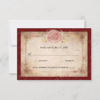 Elegant Burgundy Pink Rose Gold Rustic Wedding RSVP Card