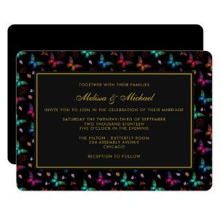 Elegant Butterfly Pattern on Black Wedding Invite