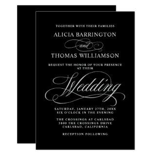 Elegant Calligraphy Black and Silver Wedding Invitations