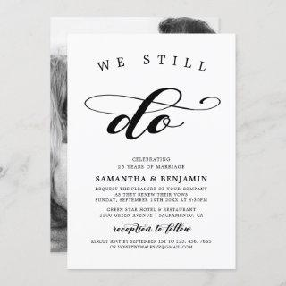 Elegant Calligraphy Black & White Vow Renewal Invitation
