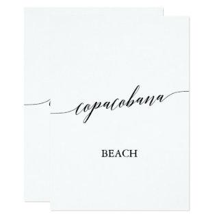 Elegant Calligraphy Copacobana Beach Table Number