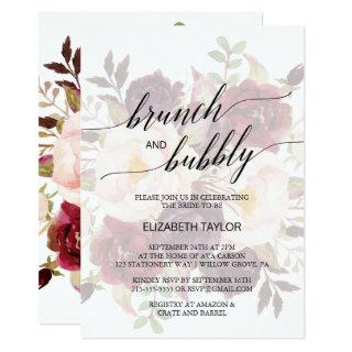 Elegant Calligraphy | Faded Floral Brunch & Bubbly Invitation