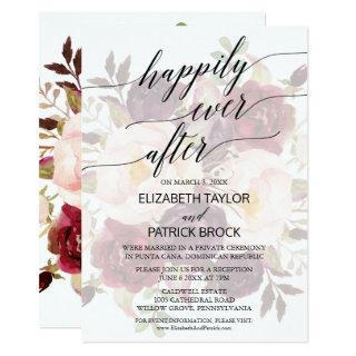 Elegant Calligraphy | Faded Floral Elopement Invitations