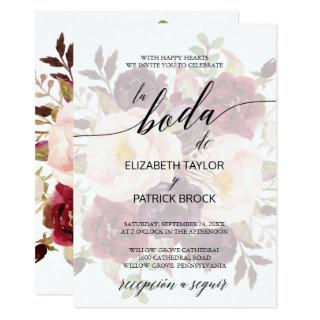 Elegant Calligraphy | Faded Floral Spanish Wedding Invitations