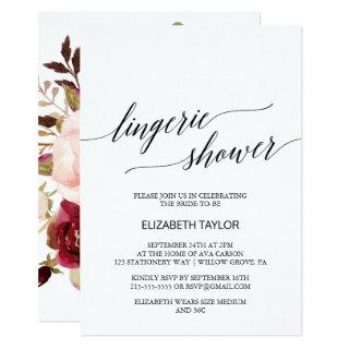 Elegant Calligraphy | Floral Back Lingerie Shower Invitation