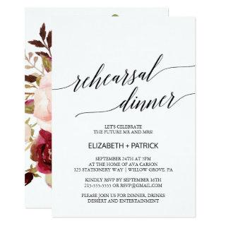 Elegant Calligraphy | Floral Back Rehearsal Dinner Invitation