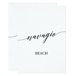 Elegant Calligraphy Navagio Beach Table Number
