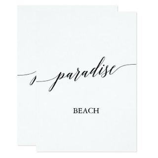 Elegant Calligraphy Paradise Beach Table Number