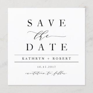 Elegant Calligraphy Save the Date Card