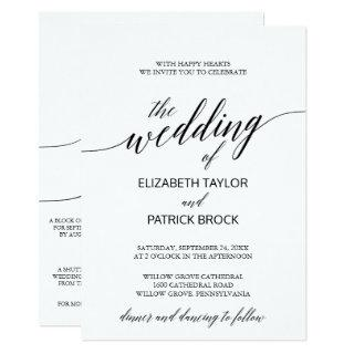 Elegant Calligraphy with Details on Back Wedding Invitations
