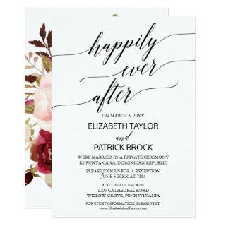 Elegant Calligraphy with Floral Backing Elopement Invitations