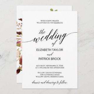 Elegant Calligraphy with Floral Backing Wedding Invitations