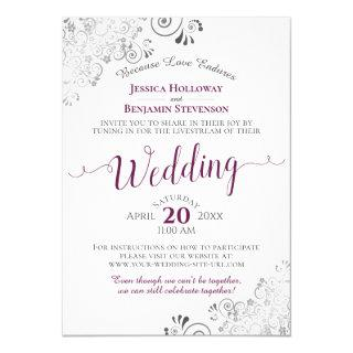Elegant Cassis on White Wedding Livestream Invitation