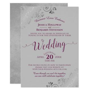 Elegant Cassis Purple on Gray Wedding Livestream Invitation