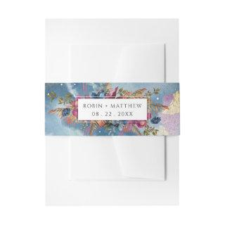 Elegant Celestial Watercolor and Mystic Garden Invitation Belly Band