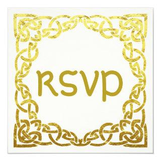 Elegant Celtic Wedding  Faux Gold Celtic Knot RSVP Invitation