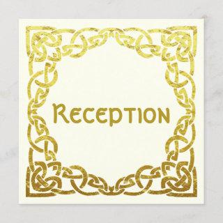 Elegant Celtic Wedding  Faux Gold | Reception Card