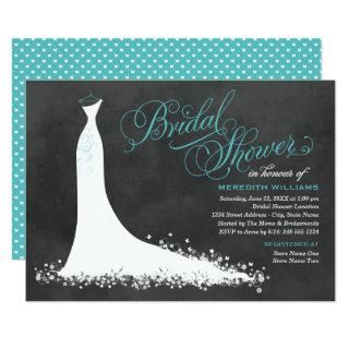 Elegant Chalkboard Teal Wedding Gown Bridal Shower Invitations