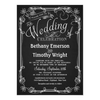 Elegant Chalkboard Wedding Invitations