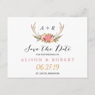 Elegant Chic Floral White Antler Save the Date Announcement Postcard