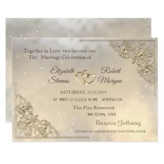 Elegant Chic Gold Hearts Wedding Invitations