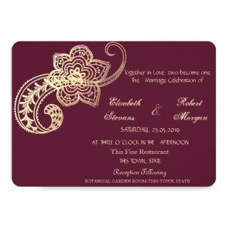 Elegant Chic Gold Paisley   Wedding Invitations