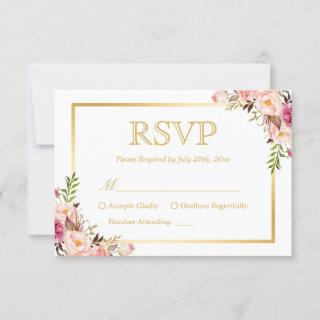 Elegant Chic Gold Pink Floral Wedding RSVP Reply