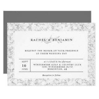 elegant chic gray marble minimalist wedding Invitations
