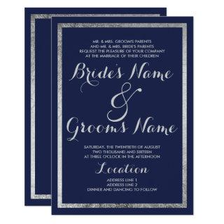 Elegant chic modern navy blue faux silver Wedding Invitations