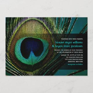 Elegant Chic Peacock Feather Photography Wedding Invitations