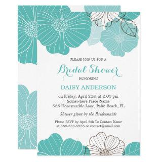 Elegant Chic Turquoise Green Floral Bridal Shower Invitation