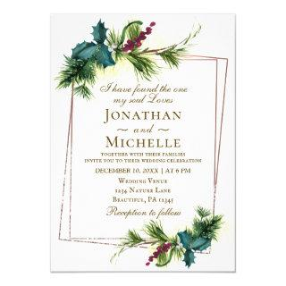 Elegant Christmas Evergreen Holly Bible Wedding Invitations