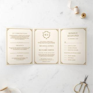 Elegant Classic Cream and Gold Monogram Wedding Tri-Fold Invitation