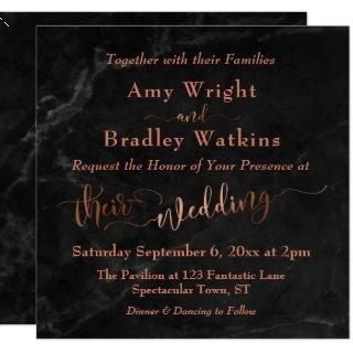 Elegant Copper Script w/ Black Marble | Wedding Invitation